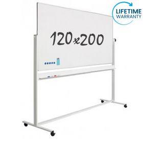 verrijdbaar whiteboard emaille 120 x 200 cm