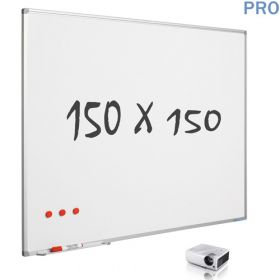 mat whiteboard emaille projectiebord 150 x 150 cm