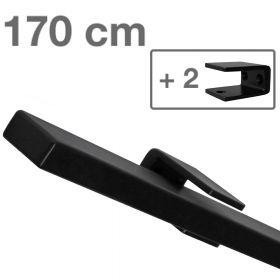 Design trapleuning zwart rechthoekig - 170 cm + 2 houders