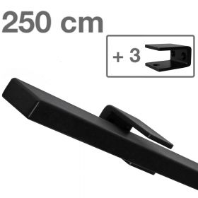 Design trapleuning zwart rechthoekig - 250 cm + 3 houders