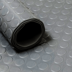 Rubber loper / rubbermat op rol Noppen 3mm grijs - Breedte 120 cm - Geurloos
