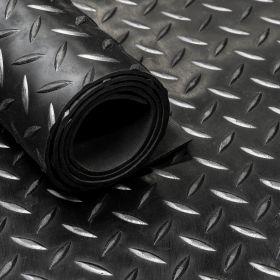 rubber op rol diamant motief zwart loper 5 mm