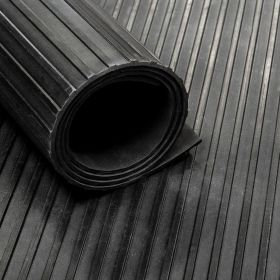 Rubber loper / rubbermat op rol streep 6mm - Breedte 100 cm