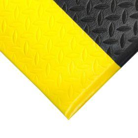 Ergonomische werkplaatsmat op rol Diamant - Anti vermoeidheidsmat - Met gele rand - Breedte 120 cm
