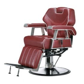 bruin lederen barber chair - retro kappersstoel