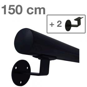 Zwarte Trapleuning 150 cm + 2 houders