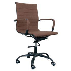 Zwart stalen bureaustoel met bruine bekleding