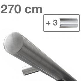 RVS design trapleuning 270 cm + 3 houders - Geborsteld