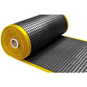Ergonomische werkplaatsmat op rol - Met gele rand - Dikte 15 mm - Breedte 91 cm