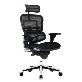 COMFORT bureaustoel Ergohuman Classic (met hoofdsteun) - Stoffen zitting - Zwart