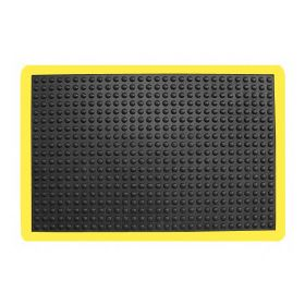 rubber werkplaatsmat met gele rand 90x120 cm
