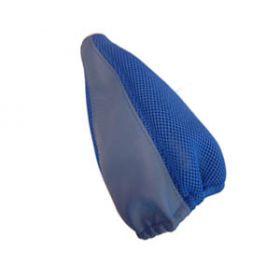 Echt lederen pookhoes blauw met stof