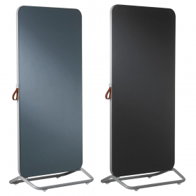 Chameleon Mobile dubbelzijdig glassboard/prikbord 89 x 192 cm - Grijs/Zwart