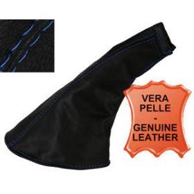 Echt lederen handremhoes met blauwe stiknaden