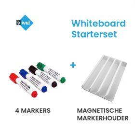 Starterset Whiteboard - 4 Markers + Magnetische Markerhouder