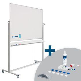 Whiteboard Verrijdbaar - Dubbelzijdig - Magnetisch - Emaille 90 x 120 cm