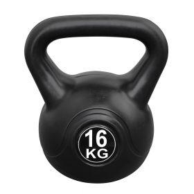 Kettlebell voor binnen en buiten - Kunststof - Zwart - 16 kg