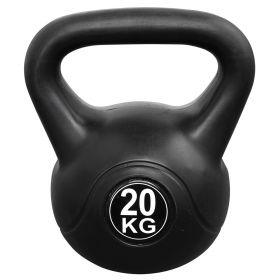 Kettlebell voor binnen en buiten - Kunststof - Zwart - 20 kg