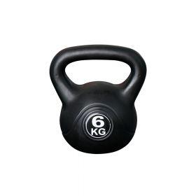 Kettlebell voor binnen en buiten - Kunststof - Zwart - 6 kg