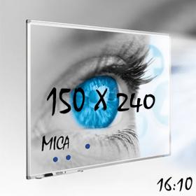 Mica projectiebord / whiteboard 150x240 cm - 16:10