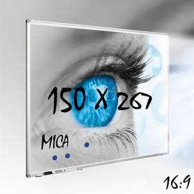 Mica projectiebord / whiteboard 150x267 cm - 16:9