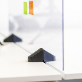 Scheidingsscherm / bureauscherm plexiglas - Incl. bureauklemmen voor dubbel bureau - 58x120 cm