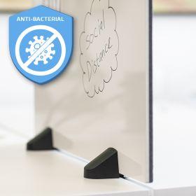 Scheidingsscherm combi whiteboard / prikbord - Incl. bureauklemmen voor dubbel bureau - 58x160 cm