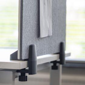 Scheidingsscherm combi whiteboard / prikbord - Incl. bureauklemmen voor enkel bureau - 58x160 cm