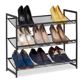 Verstelbaar schoenenrek zwart metaal 3 etages 9 paar schoenen standaard