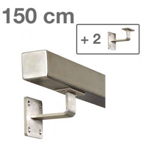 RVS Vierkante Trapleuning 150 cm + 2 houders