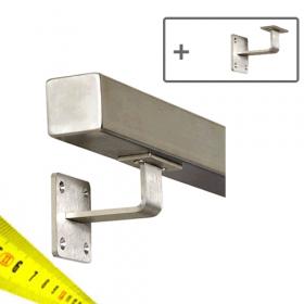 RVS Vierkante Trapleuning + Houders - Op maat per cm