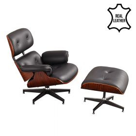 Eames lounge chair black 100% zwart leer