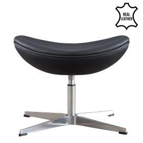 Egg Chair voetenbank / hocker - Echt leder - Zwart