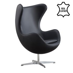 Egg Chair - Echt leder - Zwart