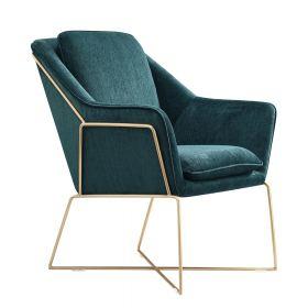 Design fauteuil Selena - Smaragd groen / gouden frame