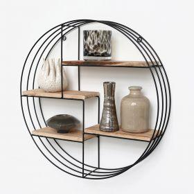 Zwart metalen wandrek met 4 houten plankjes - Rond - 50x11 cm