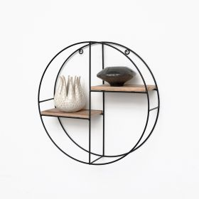 Zwart metalen wandrek met 2 houten plankjes - Rond - 37x10 cm