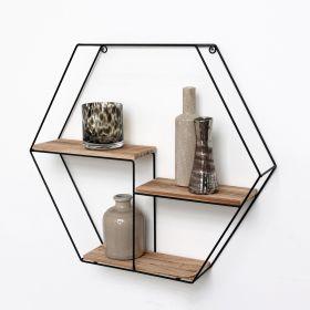 Zwart metalen wandrek met 3 houten plankjes - Zeshoek - 48x55x10 cm