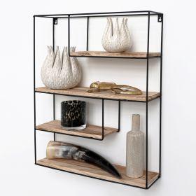 Zwart metalen wandrek met 4 houten plankjes - Rechthoek - 55x45x11 cm
