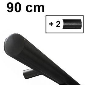 Design trapleuning zwart - 90 cm + 2 houders