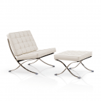 Barcelona Chair + Ottoman hocker (set) - Wit