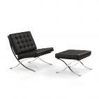 Barcelona Chair + Ottoman hocker (set) - Zwart