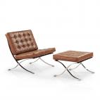 Barcelona Chair + Ottoman hocker (set) - Vintage brown